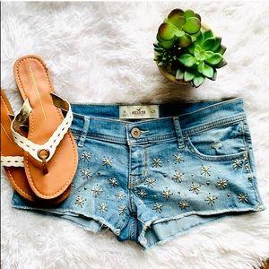 Hollister distressed beaded fringe jean shorts 9